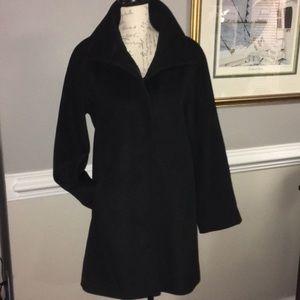 Ellen Tracy Black Wool Blend Coat Sz 6